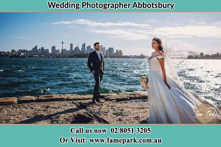 Photo of the Groom and the Bride at the sea front Abbotsbury NSW 2176