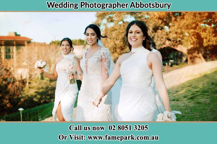 Photo of the Bride and the bridesmaids walking Abbotsbury NSW 2176