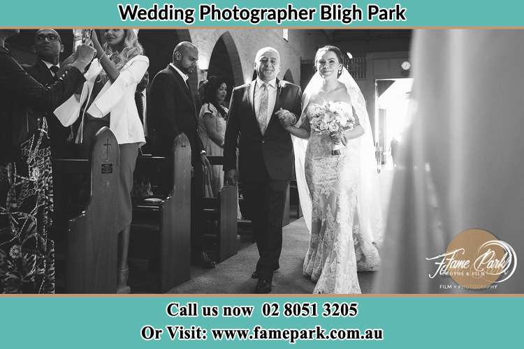 Photo of the Bride with her father walking the aisle Bligh Park NSW 2756