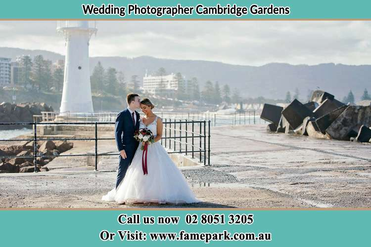 Photo of the Bride and Groom at the Watch Tower Cambridge Gardens NSW 2747