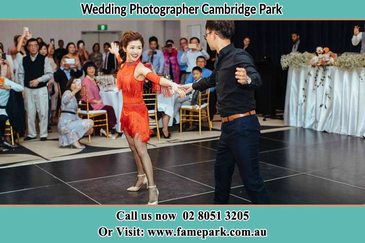 Photo of the Bride and the Groom dancing on the dance floor Cambridge Park NSW 2747