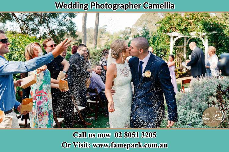 Photo of the Bride and the Groom kissing while showering rice by the visitors Camellia NSW 2142