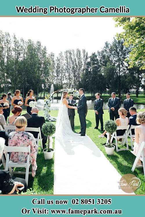 Garden wedding ceremony photo Camellia NSW 2142