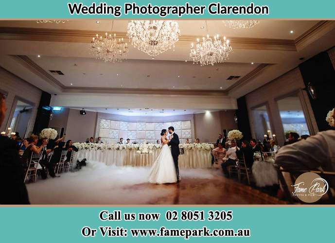 Photo of the Bride and the Groom kissing at the dance floor Clarendon NSW 2756