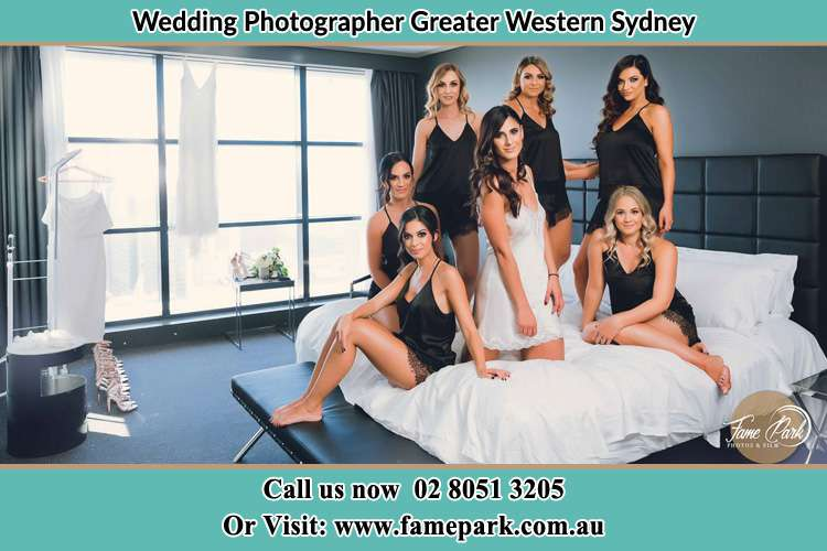 Bride and her bride's maids at the bed Greater Western Sydney