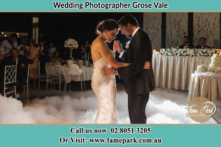 Photo of the Bride and the Groom dancing on the dance floor Grose Vale NSW 2753