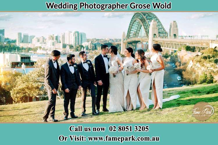 Photo of the Groom and the Bride with the entourage under the bridge Grose Wold NSW 2753