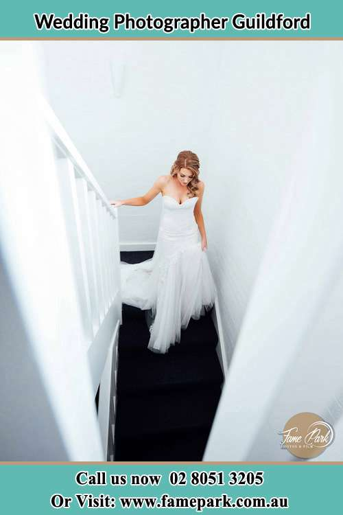 Photo of the Bride going down the stair Guildford NSW 2161