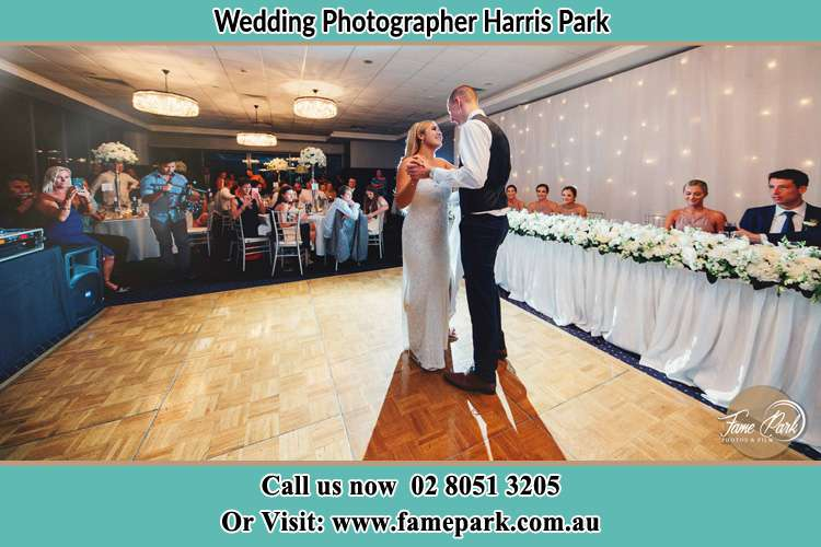 Photo of the Bride and the Groom dancing on the dance floor Harris Park NSW 2150