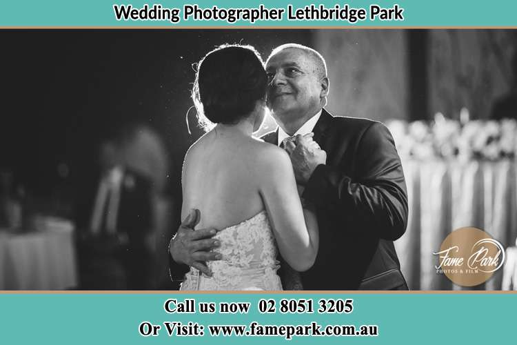 Photo of the Bride dancing with her father Lethbridge Park NSW 2770