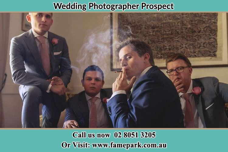 Photo of the Groom and the groomsmen relaxing Prospect NSW 2148