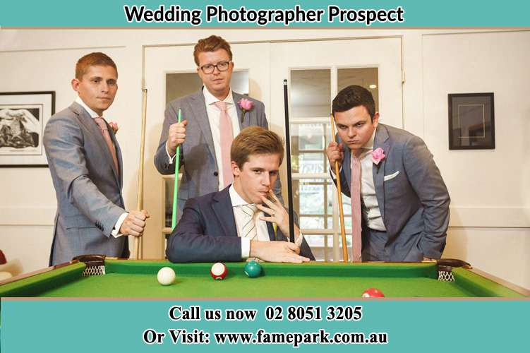 Photo of the Groom and the groomsmen playing billiard Prospect NSW 2148