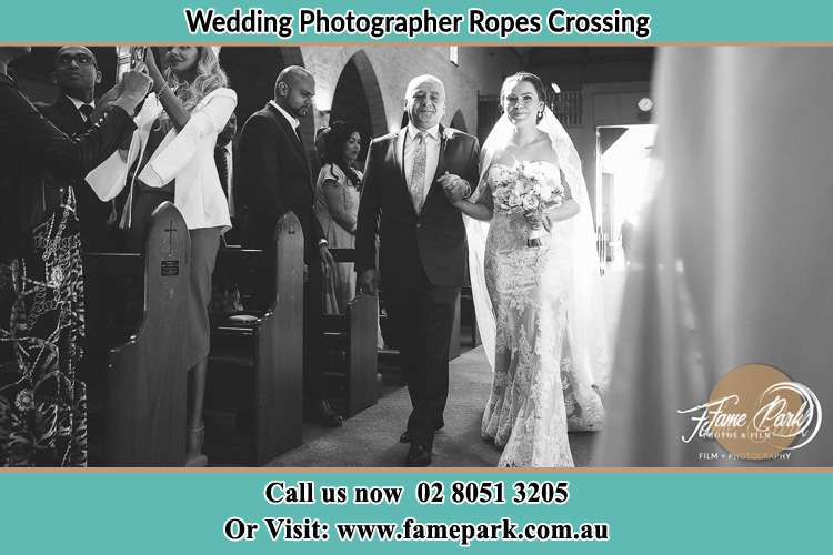 Photo of the Bride with her father walking the aisle Ropes Crossing NSW 2760
