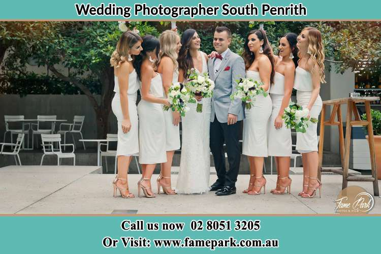 Photo of the Bride and the Groom with the bridesmaids South Penrith NSW 2750