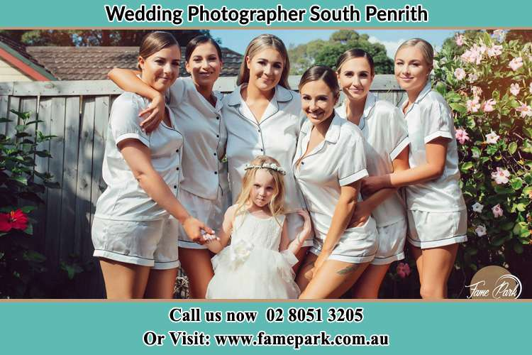 Photo of the Bride and the bridesmaids with flower girl South Penrith NSW 2750