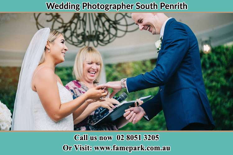 Photo of the Bride wearing ring to the Groom South Penrith NSW 2750