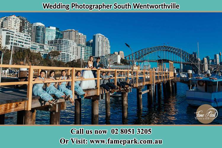 Photo of the Groom and the Bride with the entourage at the bridge South Wentworthville NSW 2145