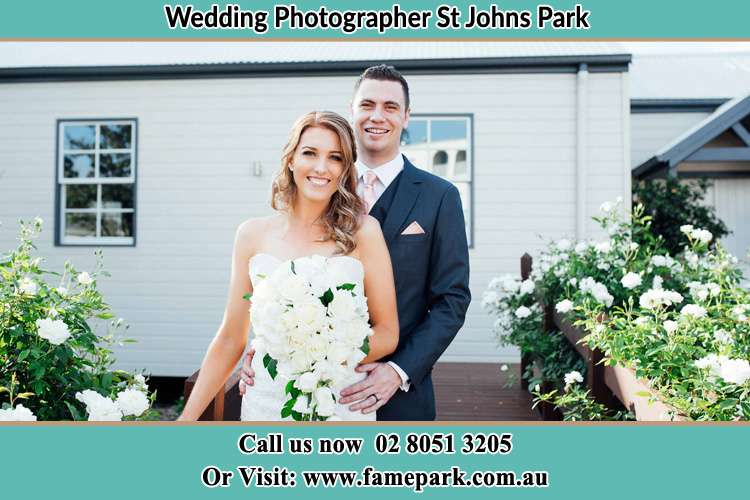 Photo of the Bride and the Groom at the front house St Johns Park NSW 2176