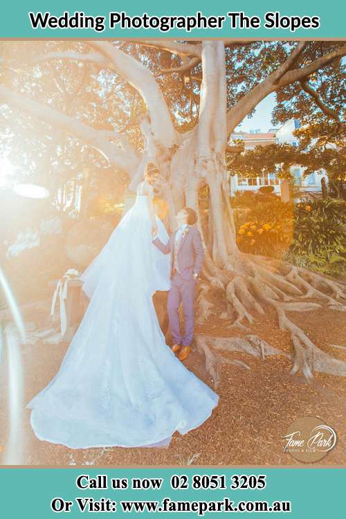 Photo of the Bride and the Groom looking each other besides the tree The Slopes NSW 2754