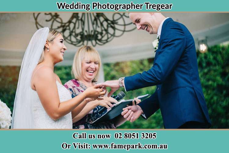 Photo of the Bride wearing ring to the Groom Tregear NSW 2770