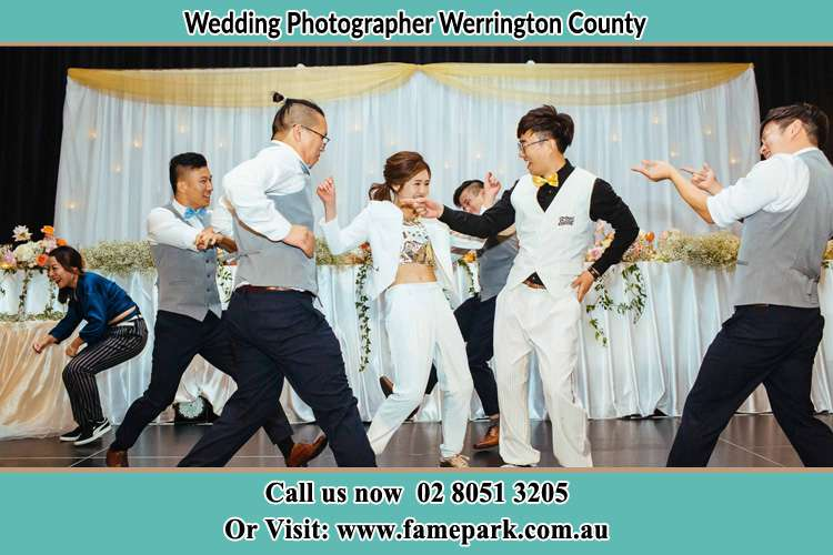 Photo of the Bride and the Groom dancing with the groomsmen Werrington County NSW 2747