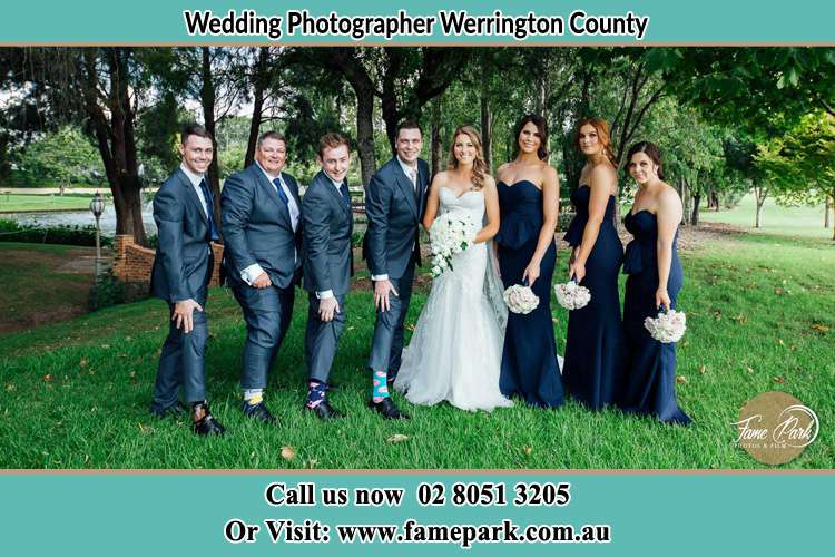 The Bride and the Groom with their entourage pose for the camera Werrington County NSW 2747