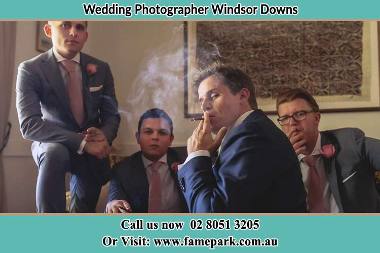 Photo of the Groom and the groomsmen relaxing Windsor Downs NSW 2756